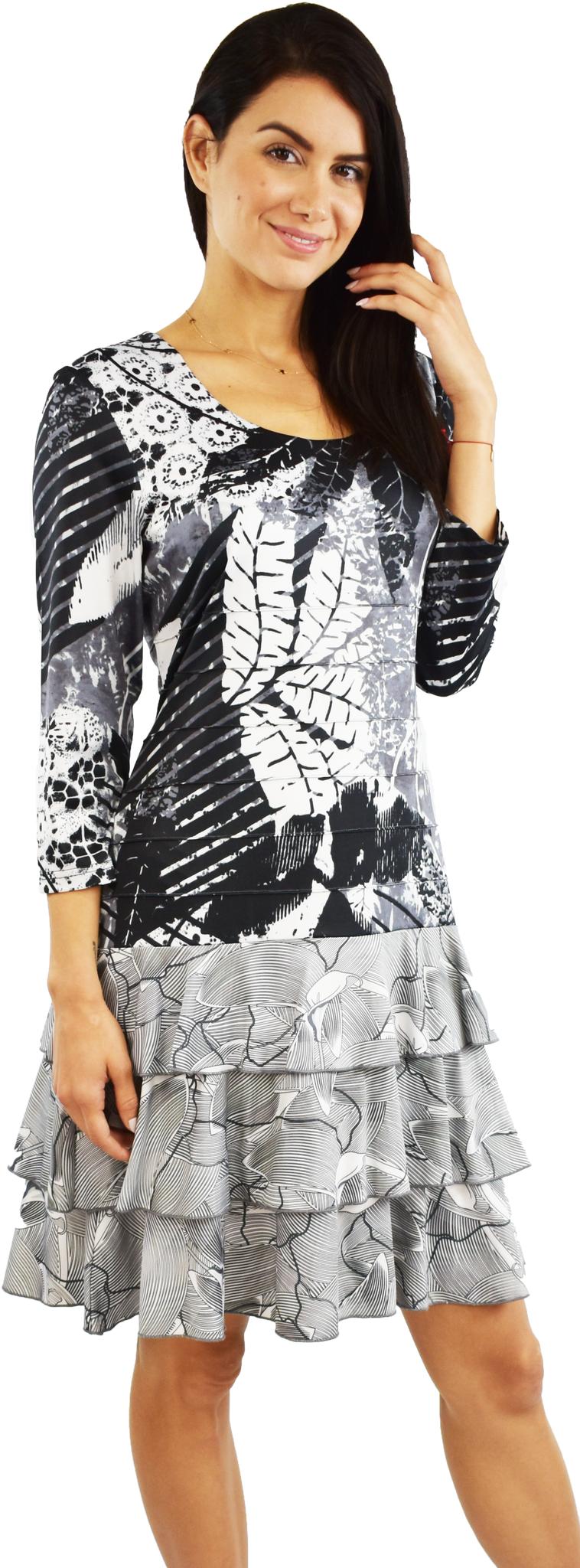 Tango Mango Black & White Long Sleeve Leaf Pattern Dress Large