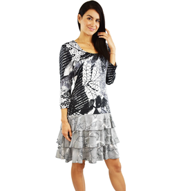Tango Mango Black & White Long Sleeve Leaf Pattern Dress Medium