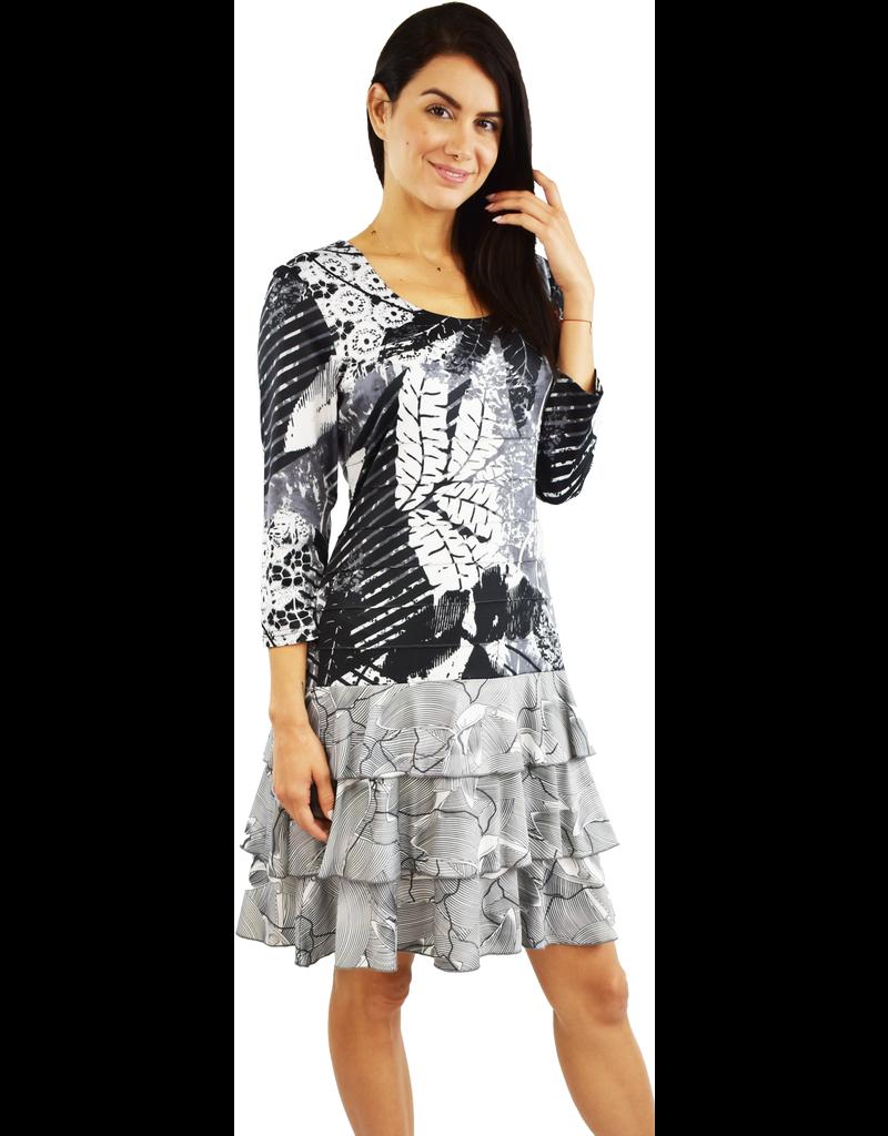 Tango Mango Black & White Long Sleeve Leaf Pattern Dress Small