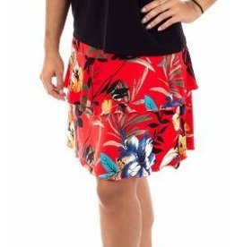 Fashque Red Floral Ruffle Skort S