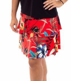 Fashque Red Floral Ruffle Skort  XL