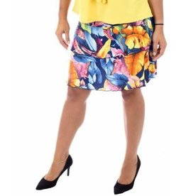 Fashque Tropical Leaves Ruffle Skort XL