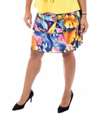 Fashque Tropical Leaves Ruffle Skort S