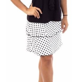 Fashque White and Black Polka Dot Ruffle Skort L