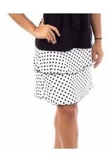 Fashque White and Black Polka Dot Ruffle Skort S