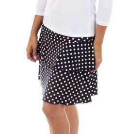 Fashque Black and White Polka Dot Ruffle Skort XL