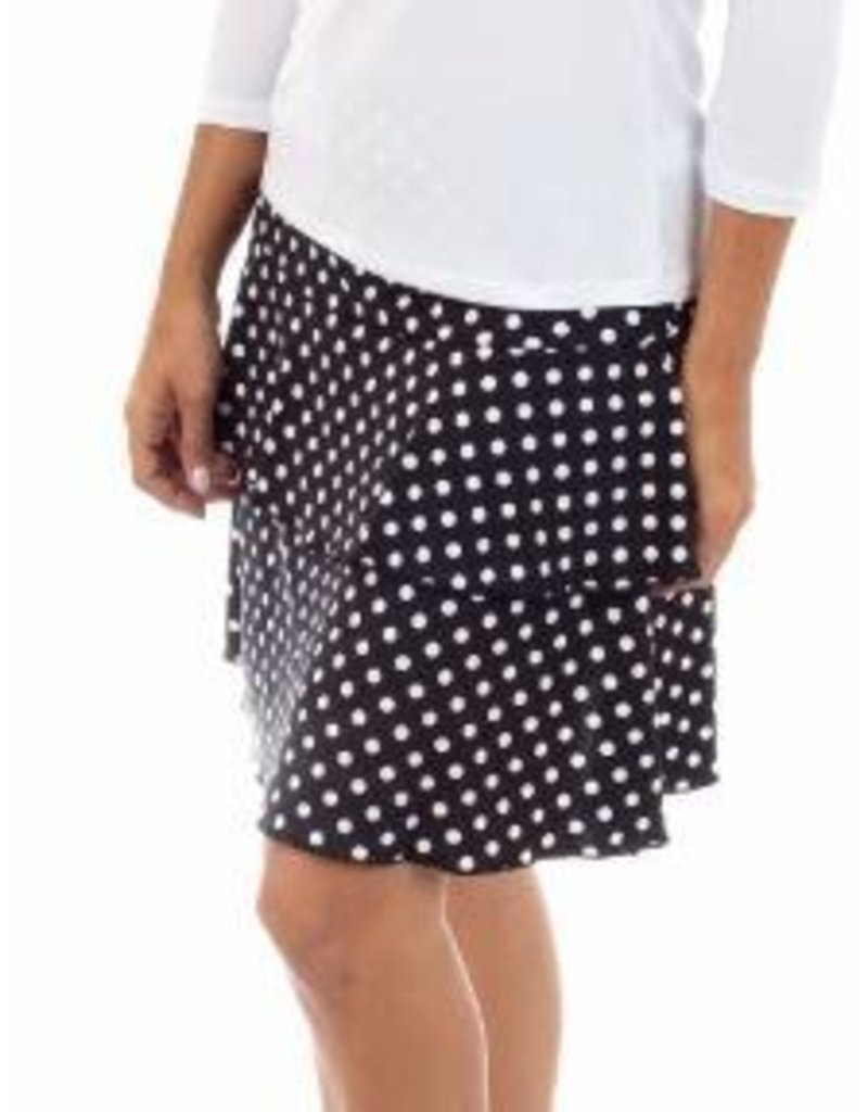 Fashque Black and White Polka Dot Ruffle Skort Large