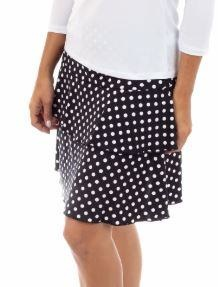 Fashque Black and White Polka Dot Ruffle Skort Large