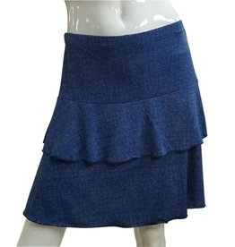 Fashque Denim Ruffle Skort Small