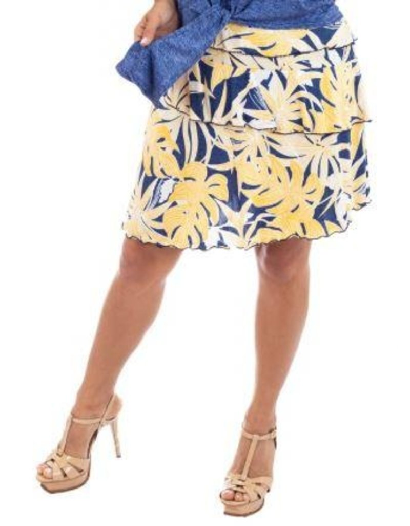 Fashque Denim & Yellow Leaves Ruffle Skort 1X