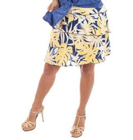 Fashque Denim & Yellow Leaves Ruffle Skort L