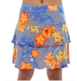 Fashque Orange & Blue Flowers with Diagonal Lines Skort 1XL