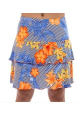 Fashque Orange & Blue Flowers with Diagonal Lines Skort L