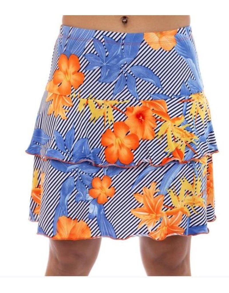 Fashque Orange & Blue Flowers with Diagonal Lines Skort XL