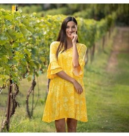 Double Ruffle Bell Sleeve Dress - Sunshine Floral - SM/MED