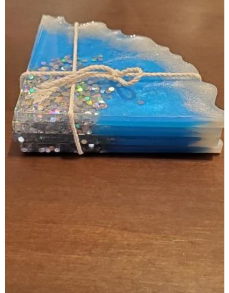 Sherri's Beachy Creations Set of 4 Blue & Silver Sparkle Coasters