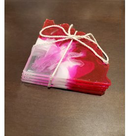 Sherri's Beachy Creations Set of 4 Pink & White Coasters Resin Art by Sherri
