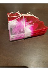 Sherri's Beachy Creations Set of 4 Pink & White Coasters Resin Art by Sherri