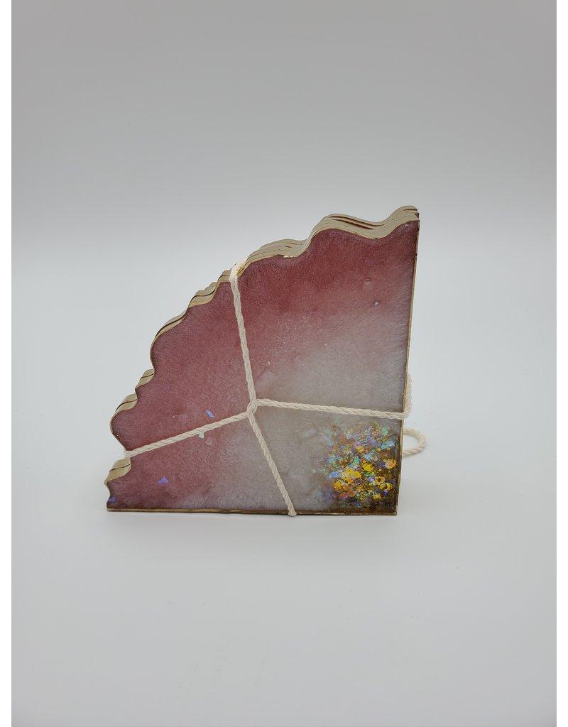 Sherri's Beachy Creations Set of 4 Pink, White  & Gold Coasters Resin Art by Sherri