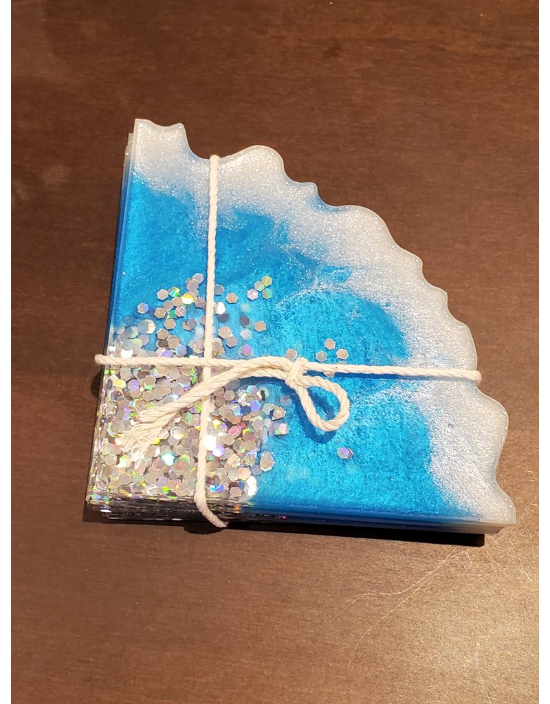 Sherri's Beachy Creations Set of 4 Turquoise & Silver Sparkles Coasters Resin Art by Sherri