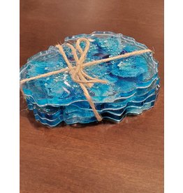 Sherri's Beachy Creations Set of 4 Turquoise &  White Coasters Resin Art by Sherri