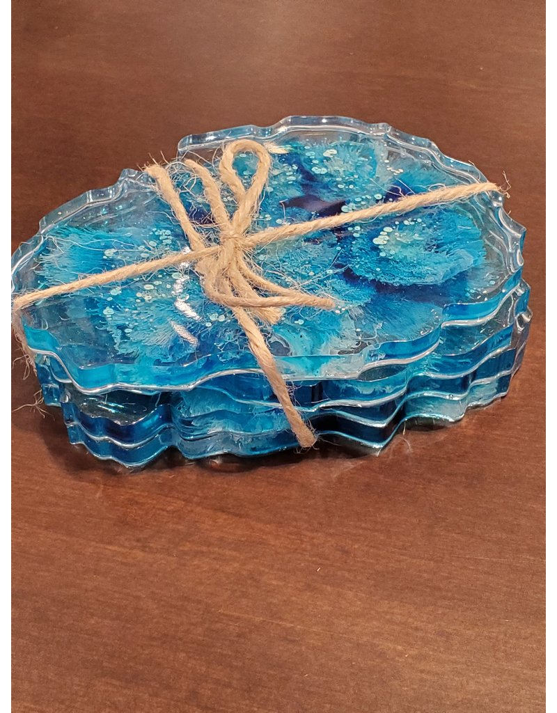 Sherri's Beachy Creations Set of 4 Turquoise &  White Coasters Resin Art by Sherri