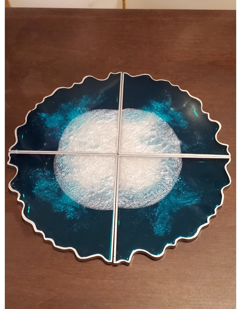 Sherri's Beachy Creations Set of 4 Silver Edge Teal & White Coasters Resin Art by Sherri