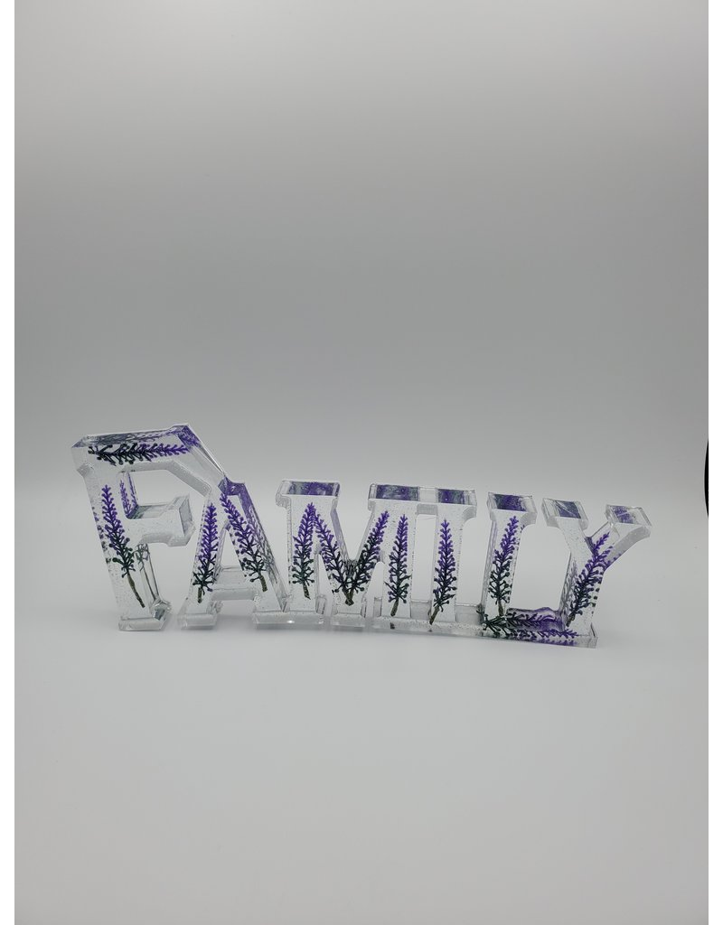 Sherri's Beachy Creations Sparkly Lavender Decorative Artisan Family Sign Resin Art by Sherri