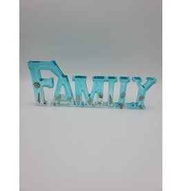 Sherri's Beachy Creations Aqua Decorative Artisan Family Sign Resin Art by Sherri