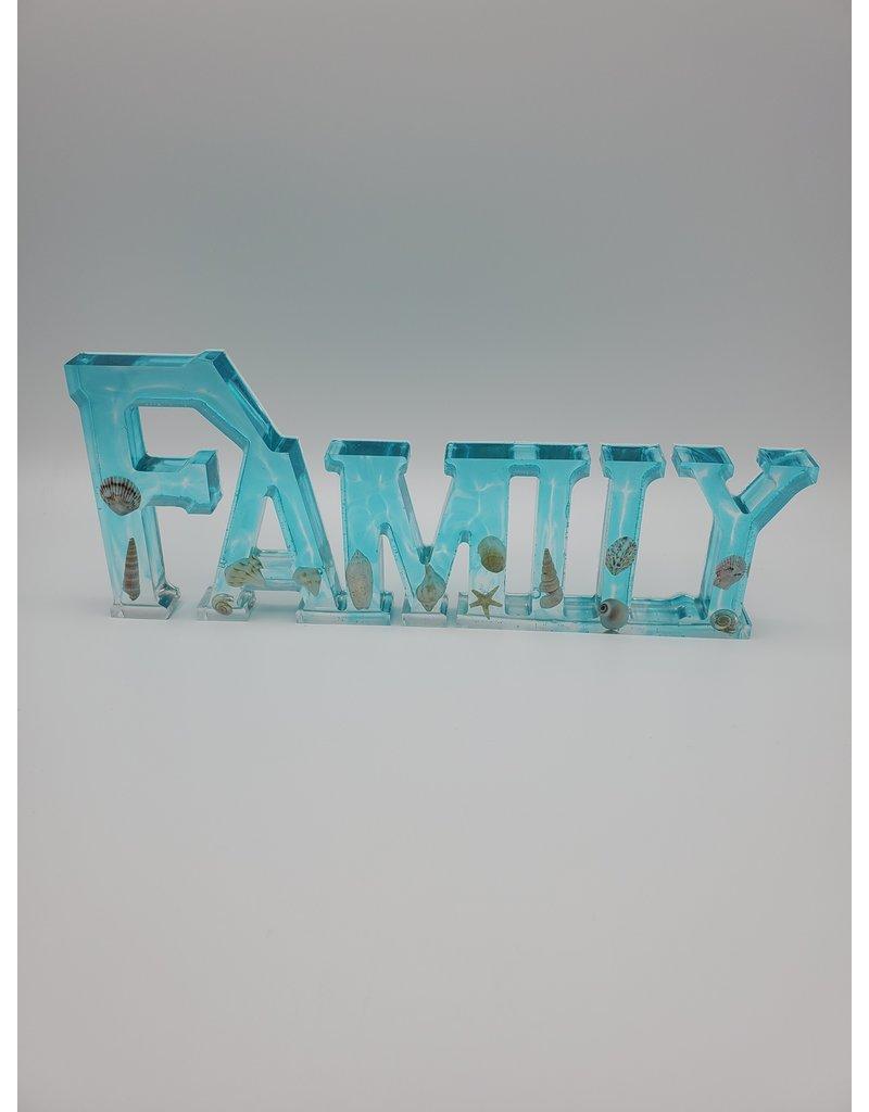 Sherri's Beachy Creations Aqua Decorative Artisan Family Sign Resin Art by Sherri