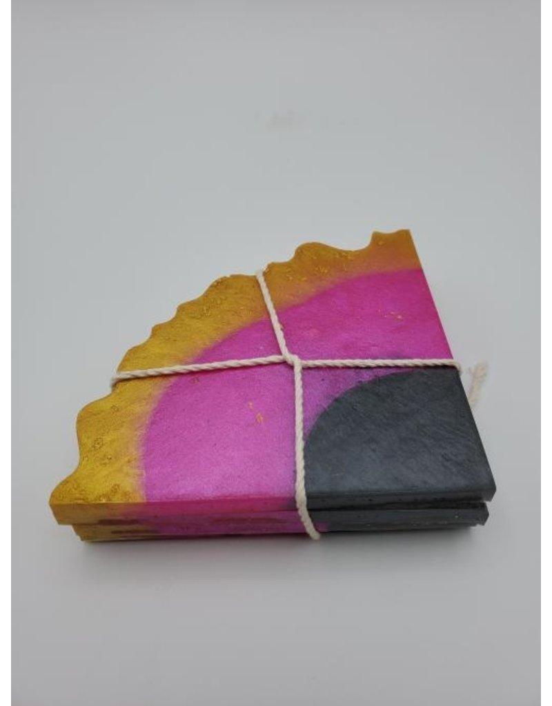 Sherri's Beachy Creations Set of 4 Gold, Fuschia & Black Coasters Resin Art by Sherri