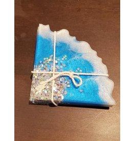 Sherri's Beachy Creations Set of 4 Turquoise with Stars Coasters Resin Art by Sherri