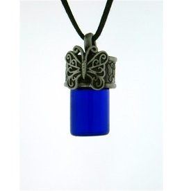 Pewter Butterfly Aromatherapy Bottle Necklace