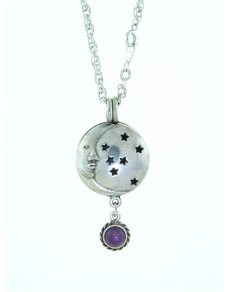 Pewter Moon & Stars Diffuser Pendant with Amethyst