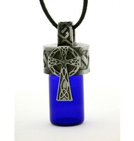 Pewter Celtic Cross Aromatherapy Bottle Necklace