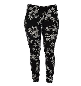 Go2 Legging Black & White Floral Med