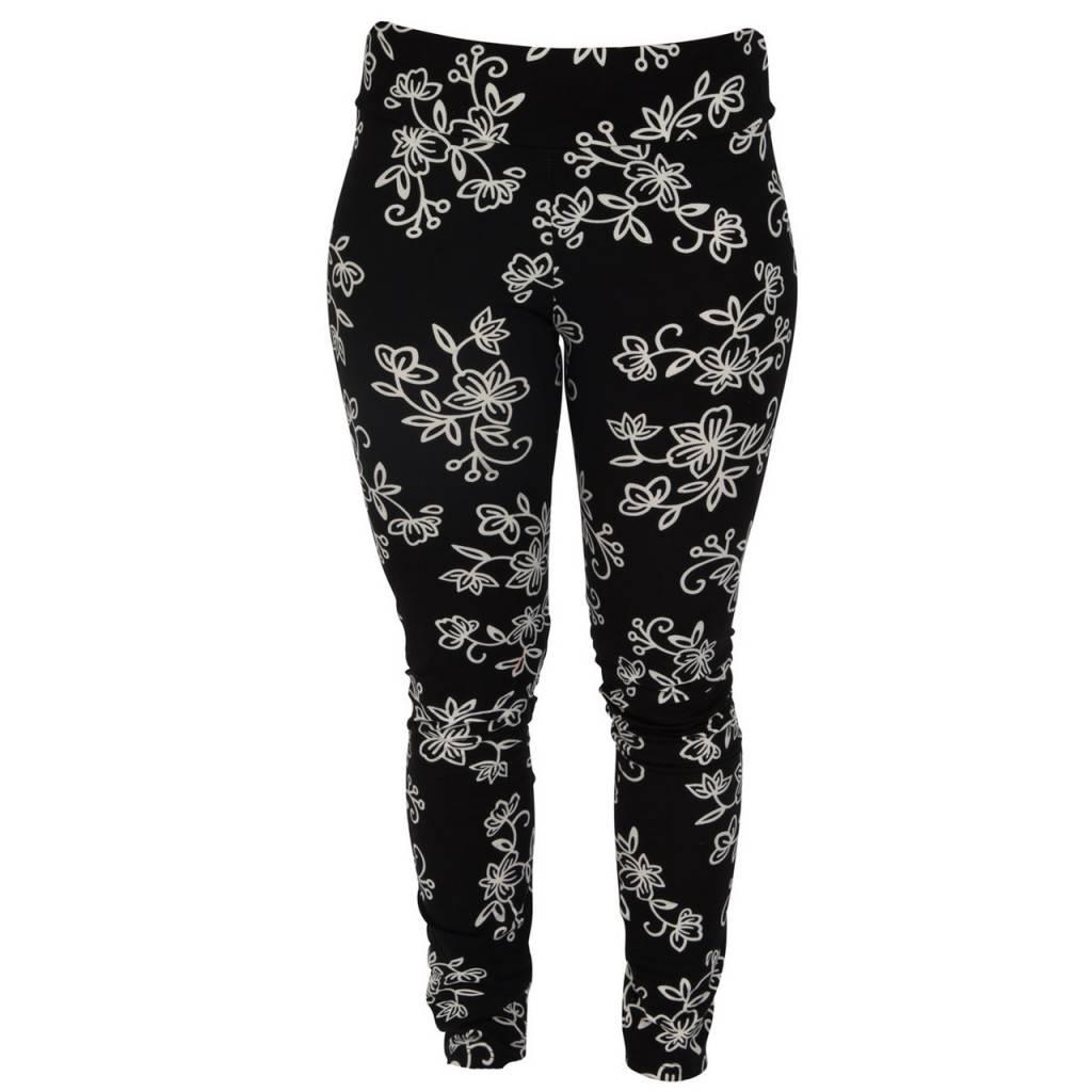 Go2 Legging Black & White Floral Med