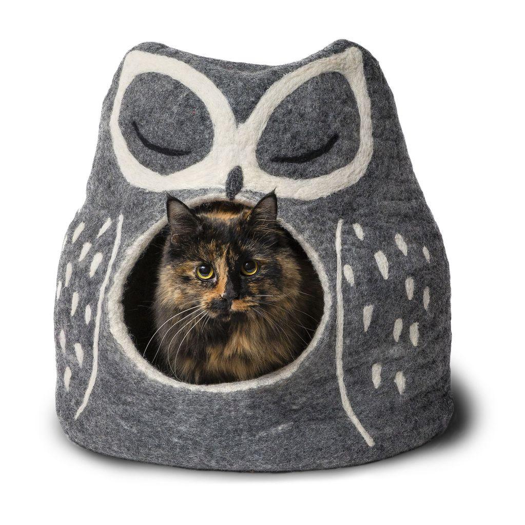 Dharma Dog Karma Cat Dharma Dog Karma Cat Wool Felt Owl Cave Grey