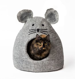 Dharma Dog Karma Cat Dharma Dog Karma Cat Wool Felt Mouse Cave Soft Baby Grey