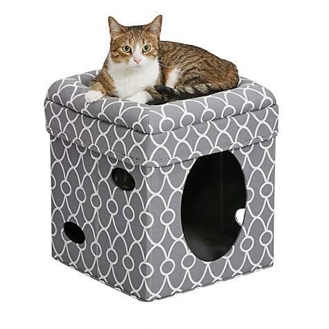 Midwest Curious Cat Cube Grey