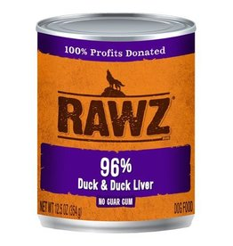 Rawz Dog Can 96% Duck & Duck Liver 12oz