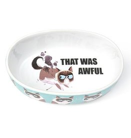 "Petrageous Petrageous Grumpy Cat That Was Awful Blue 7"" Bowl 2 cups"