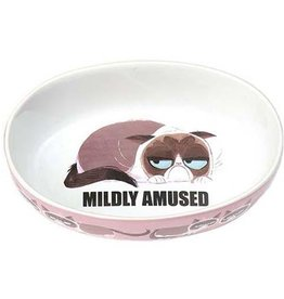 "Petrageous Petrageous Grumpy Cat Mildly Amused Pink 7"" Bowl 2 cups"