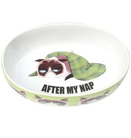 "Petrageous Petrageous Grumpy Cat After My Nap Green 7"" Bowl 2 cups"