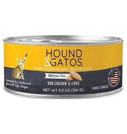 Hound & Gatos Hound & Gatos Cat Can 98% Chicken & Liver 5.5oz