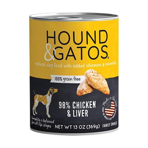 Hound & Gatos Hound & Gatos Dog Can 98% Chicken & Liver 13oz