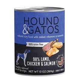 Hound & Gatos Hound & Gatos Dog Can 98% Lamb, Chicken & Salmon 13oz