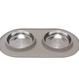 Messy Mutts Messy Cats Double Silicone Feeder with Stainless Saucer Bowl 1.75 Cups Grey