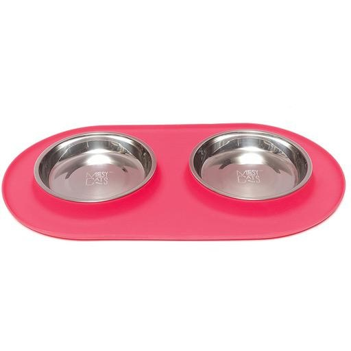 Messy Mutts Messy Cats Double Silicone Feeder with Stainless Saucer Bowl 1.75 Cups Watermelon