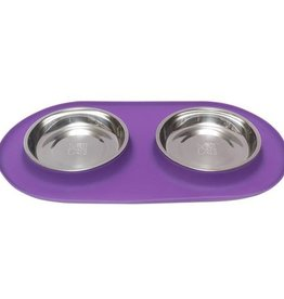 Messy Mutts Messy Cats Double Silicone Feeder with Stainless Saucer Bowl 1.75 Cups Purple